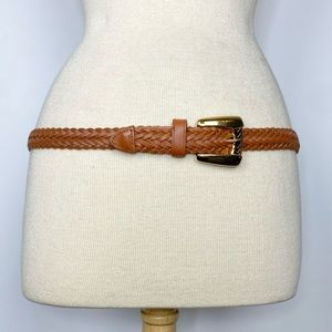 Vtg 80s 90s Chic Brown leather woven belt